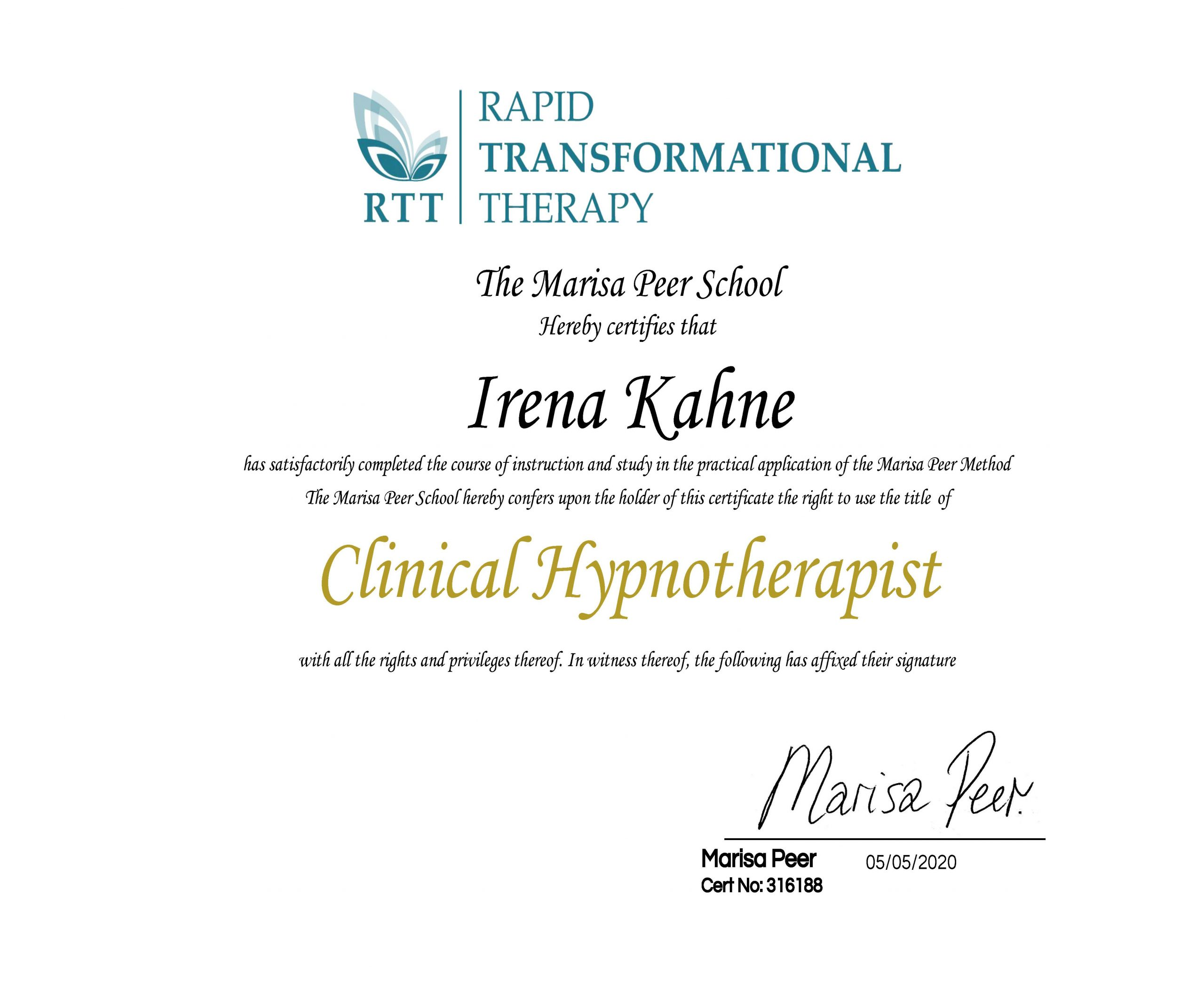Clinical Hypnotherapist Certificate Kahne