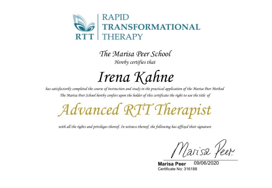 Irena Kahne RTT terapevtka